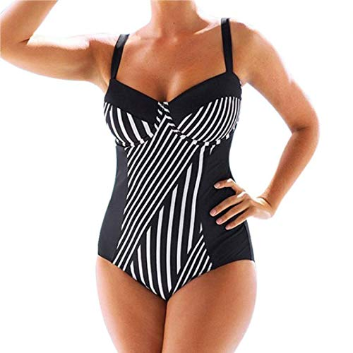 Wilbur Gold Women's Sexy Swimsuit Striped One-Piece Swimwear Large Size Bikini Beach Swimwear Bathing Suit Black
