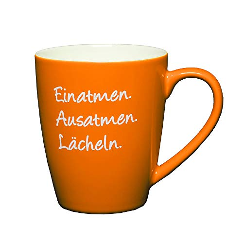 Glückstasse mit Spruch: Einatmen. Ausatmen. Lächeln. Farbenfrohe Tasse, Kaffeetasse oder Teetasse, das besondere Geschenk, Geschenk-Tasse.