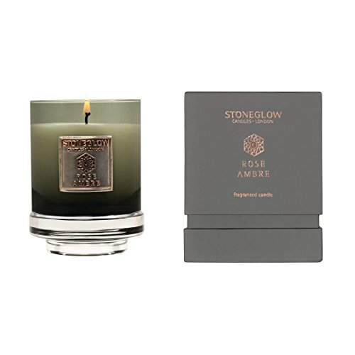 StoneGlow Metallique Collection - Rose Ambre Candle in a Glass Tumbler