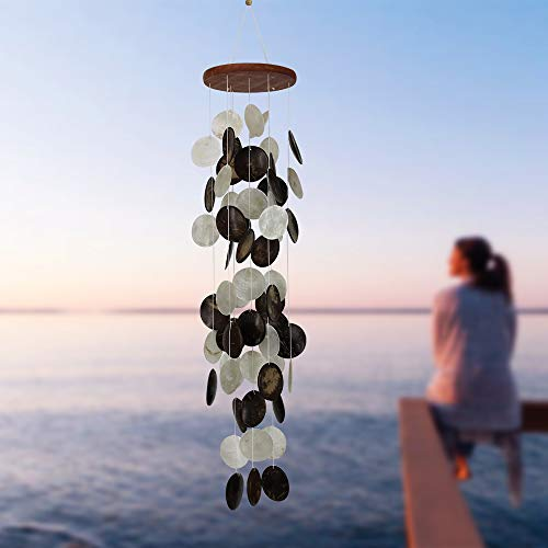 ASTARIN Coconut Shell Wind Chimes Outdoor, Capiz Shell Wind Chimes Outdoor, Perfect Decoration for Your own Patio, Porch, Garden, or Backyard, Quality Gifts for Mom, Best Friends, Grandma