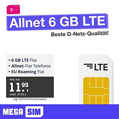 Telekom Handyvertrag Allnet 6 GB - Internet Flat, Allnet Flat Telefonie in alle Deutschen Netze, EU-Roaming, 24 Monate Laufzeit