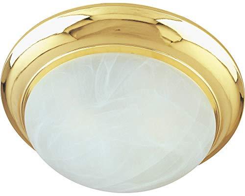 Maxim Lighting 87951MRPB Flair EE - Two Light Flush Mount, Polished Brass Finish - Marble Glass