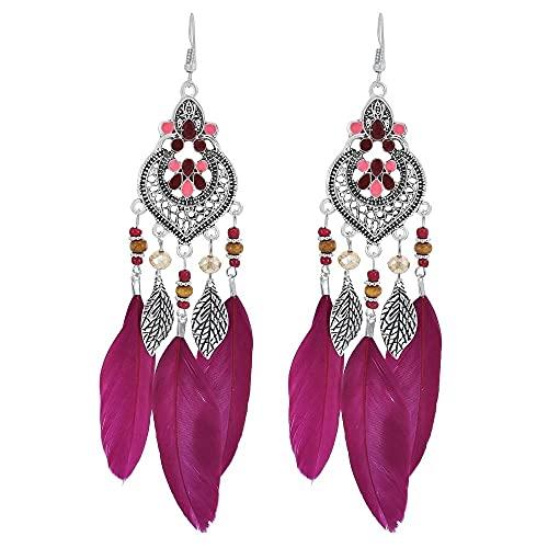 Tribal Großen Böhmischen Feder Baumeln Ohrring Indischen Schmuck Gypsy Quaste Drop Ohrringe für Frauen-RE