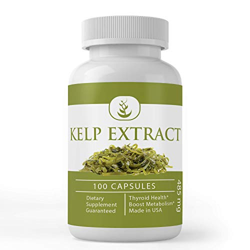 Kelp Extract (100 Capsules, 485 mg Serving) Superfood, Energy Booster, Lower Stress, Weight Loss Aid, Heart Healthy by Pure Organic Ingredients*