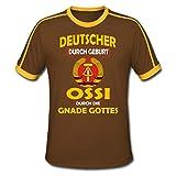 DDR Deutscher Durch Geburt Ossi Durch Die Gnade Gottes Männer Retro-T-Shirt, XXL, Chocolate/Sun