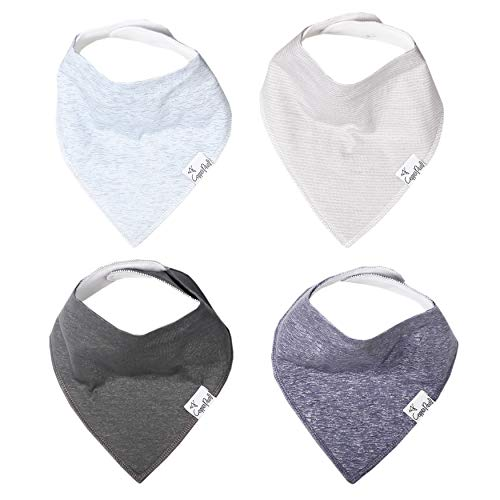 """Baby Bandana Drool Bibs for Drooling and Teething 4 Pack Gift Set """"Lennon"""" by Copper Pearl"""