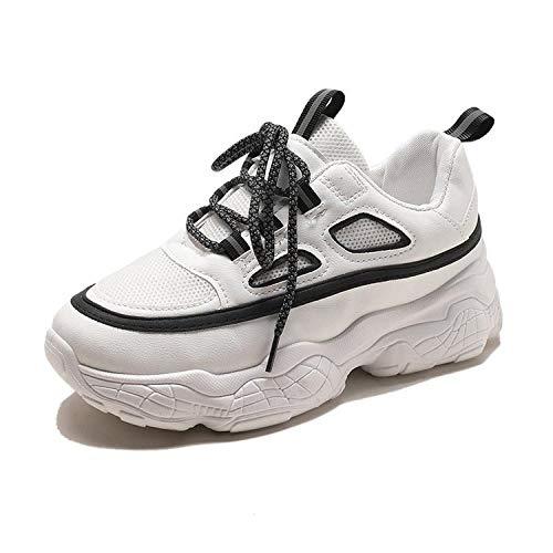 Mesh Sneakers Zomer Ademend en Comfortabel Reflecterende Dik-Geolied Hardlopen Witte Schoenen Dames
