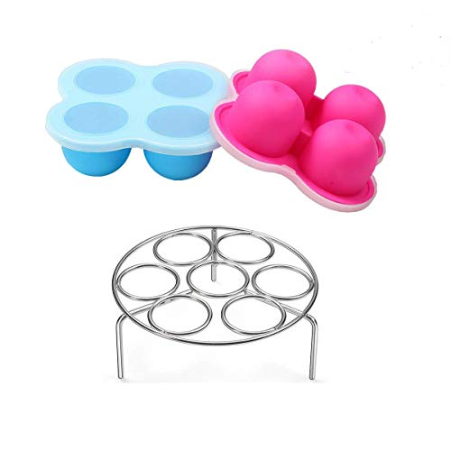 Silicone Egg Bites Mold for Instant Pot Accessories 3 Qt by ULEE - Fits Instant Pot 3/5/6/8 Qt Pressure Cooker, Stainless Steel Egg Steamer Rack Included
