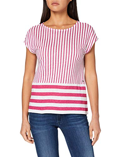 Tommy Hilfiger Babs Open-nk Top Cap Slv Jersey Deportivo, (Deck Chair STP Yd/Fuchsia Red 608), Large para Mujer