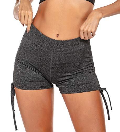 ADOME Shorts Damen Sport Kurz Sporthose Sportshorts Hotpants Hose Unterwäsche Sommer Sexy Eng High Waist Yoga Fitness Grau XXL