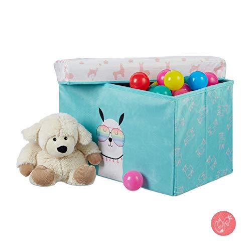Relaxdays Sitzbox Kinder, Staubox mit Deckel, Spielzeug Aufbewahrung, faltbar, Lama Motiv, Jungen & Mädchen, 33l, türkis 31 x 48,5 x 31 cm
