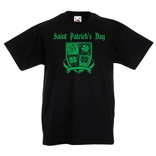 Kinder T-Shirt Saint Patrick's Day Shamrock Symbol - Irish Party time (5-6 Years Schwarz Mehrfarben)