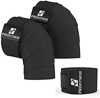 ProFitness Weightlifting Knee Wraps (Pair) – Adjustable Compression Sleeves for Cross Training,  Squats,  Powerlifting,  Weightlifting – Improved Gym Workout Strength & Stability – Unisex