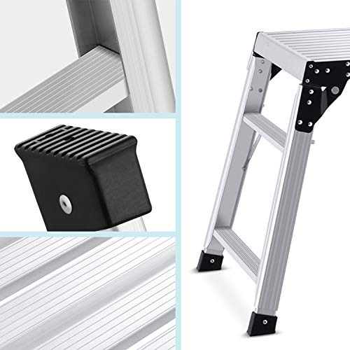 Aluminum Work Platform Adjustable Height 24 to 35 inches Support 330 lbs Portable Folding Stool Ladder Non Slip