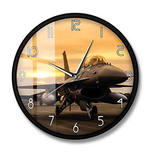 Falcon Fighter Jet Aircraft Avión Reloj de Pared Air Force Aircraft Wall Art Aviación Decoración Piloto Militar Regalo with Frame 30cm