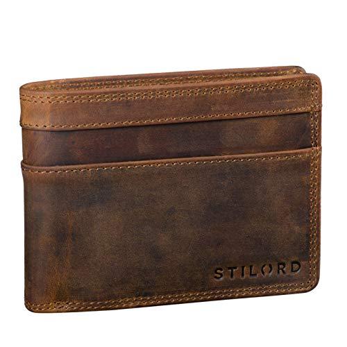 STILORD 'Cooper' RFID Leder Brieftasche Herren Vintage Portemonnaie Männer mit Ausweisfach und Ausleseschutz in Schwarzer Geschenkbox, Farbe:mittel - braun