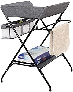 CWJ Small Bed for Look After Baby Without Bending Over  Grey Baby Changing Station with Portable Storage  Folding Diaper Table Organizer for Infant  Save Space Storage Desk