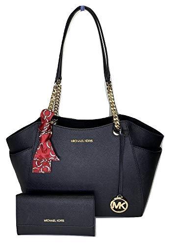 Michael Kors Jet Set Travel Large Chain Shoulder Tote College Bag with Jet Set Travel Trifold Wallet (Black/Black)