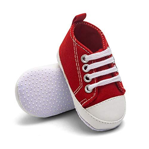 T- Leinwand Soft Sole Sneaker Canvas für Neugeborene Jungen und Mädchen Erste Laufschuhe Unisex Kleinkind Kinderschuhe Newborn Lauflernschuhe Babyschuhe Schuhe (0-3M, Rot)