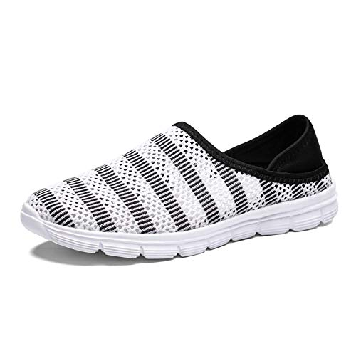 CERYTHRINA Men's Mesh Shoes Slip on Socks Walking Sports Shoes Lightweight Barefoot Quick-Dry Aqua Yoga Water Shoes Loafers All-Purpose Amphibious Breathable Beach Pool Sneakers White 42