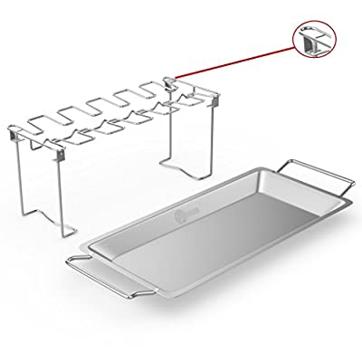 Cave Tools Chicken Wing & Leg Rack for Grill Smoker or Oven - Stainless Steel Vertical Roaster Stand & Drip Pan for Cooking Vegetables in BBQ Juices - Dishwasher Safe Barbecue Accessories