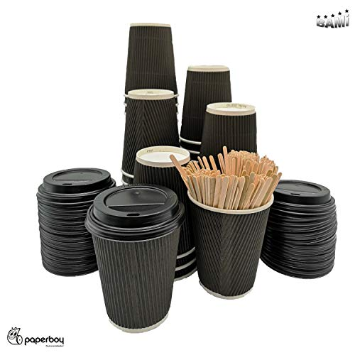BAMI Kaffeebecher - 0,3l (12oz) Set Riffelbecher Einweg Tee Kaffee Cappuccino Heiße Getränke schwarz Pappe, geriffelt, doppelwandig - 100 Becher + 100 Deckel + 100 Rührstäbchen