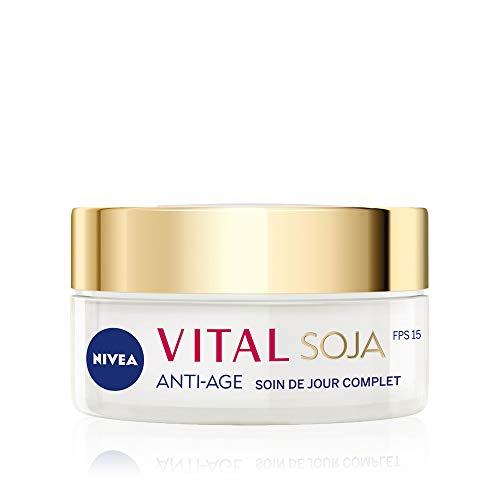 NIVEA Vital Soja Soin de Jour Anti-Âge Complet FPS 15 (1 x 50 ml), crème hydratante visage à l'extrait naturel de Soja, soin visage femme pour peaux matures