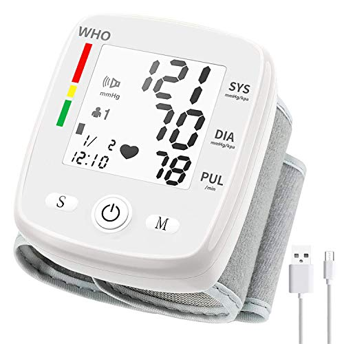 Wrist Blood Pressure Monitor, Blood Pressure Cuff with USB Charging, Automatic Digital Home BP Monitor Cuff Accurate Adjustable Cuff Intelligent Voice, Irregular Heartbeat and Hypertension Detector