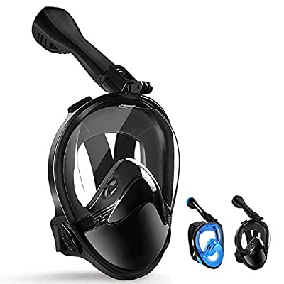LBHMEI Full Face Snorkel Mask Latest Snorkeling Mask with Upgraded Safety Breathing System, 180° Panoramic Anti-Leak & Anti-Fog, Snorkel Set with Detachable Camera Mount for Adults&Kids (Black L/XL)