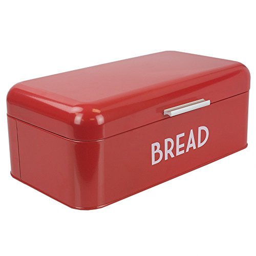 Home Basics Grove Bread Box For Kitchen Counter Dry Food Storage Container, Bread Bin, Store Bread Loaf, Dinner Rolls, Pastries, Baked Goods & More, Retro Vintage Design, Red