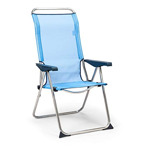 Solenny 50001072725182 50001072725182 - Sedia da spiaggia 5 posizioni schienale anatomico blu e bianco