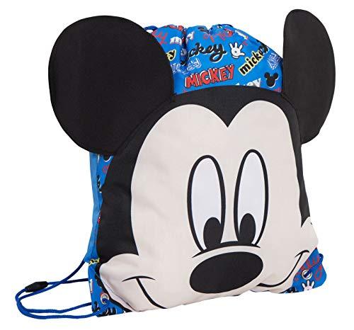 Disney Mickey Mouse Turnbeutel mit Kordelzug 3D Neuheit PE Kit Pumpe Schuhe Sac Swimbag Rucksack Gr. One size, blau