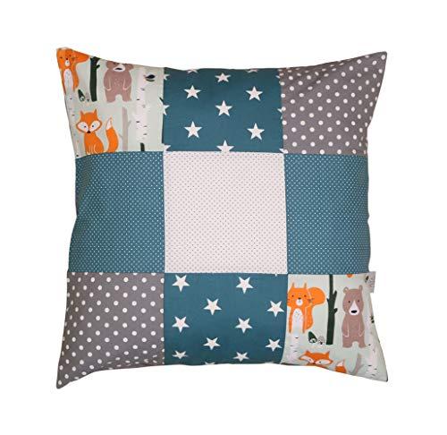 ULLENBOOM ® patchwork kussenhoes l 60x60 cm l katoenen kussensloop voor sierkussens in de kinderkamer en babykamer I bosdieren petrol