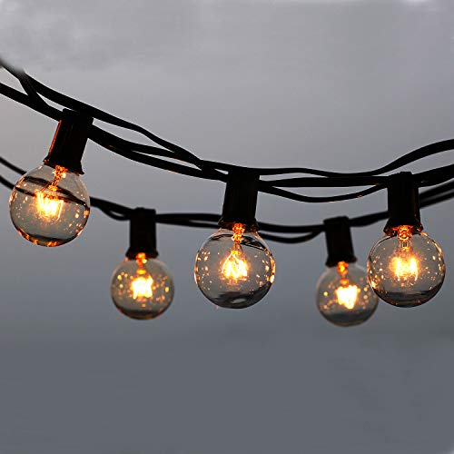 Outdoor String Lights, 25ft G40 String Festoon Lighting, Waterproof Indoor/Outdoor String Lights Perfect for Patio, Cafe, Garden, Wedding, Festoon Party Decoration (25 Bulbs + 3 Spare Bulbs + 3 Fuse)