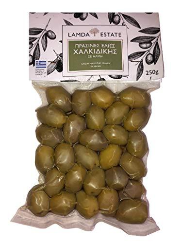 Oliven grün mit Stein | aus Griechenland | griechische grüne Oliven | eingelegte Oliven | Vakuumverpackt 3x 250gr (Natur, 750 GR)