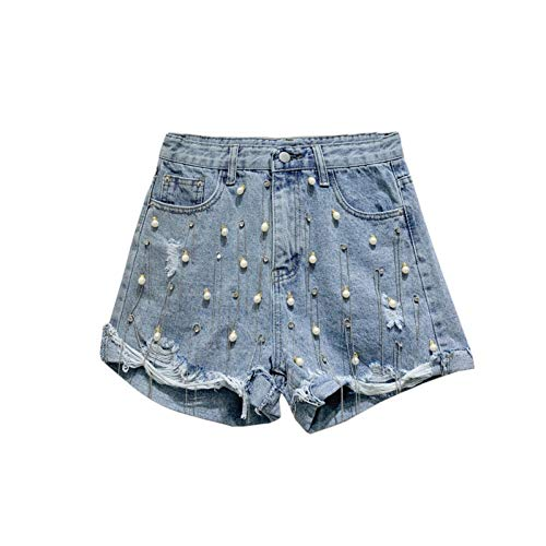 DAIDAICDK Hellblaue Jeans Shorts Frau Sommer Mode Bohrer Hohe Taille Loch Denim Shorts Studentinnen Hot Shorts