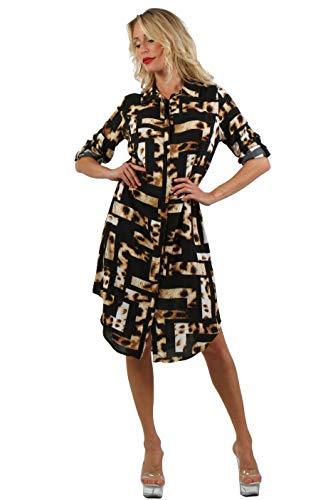 ENISE Damen Hemdkleid Kariertes Blusenkleid Streifen Freizeitkleid Hemdbluse Wadenlang Langarm V-Ausschnitt (Mehrfarbig (Braun/Schwarz)), M