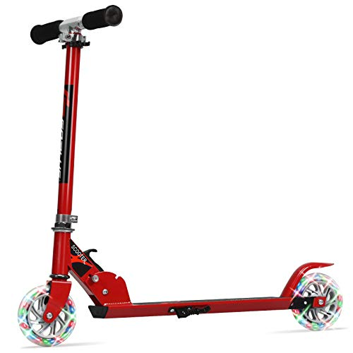 Goplus Folding Kick Scooter for Kids 2 Flash Wheels Deluxe Aluminum Rear Fender Brake Adjustable Height Sports Scooter for Girls and Boys Red