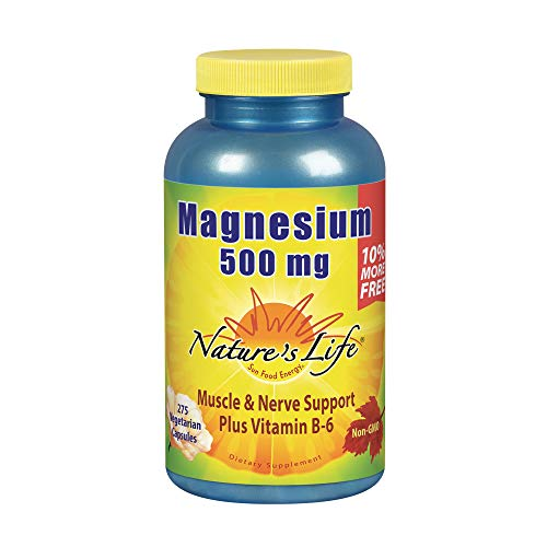 Natures Life Magnesium 500mg | High Potency Magnesium Supplement Plus Vitamin B-6 for Muscle & Nerve Support | Non-GMO | 275 Vegetarian Capsules
