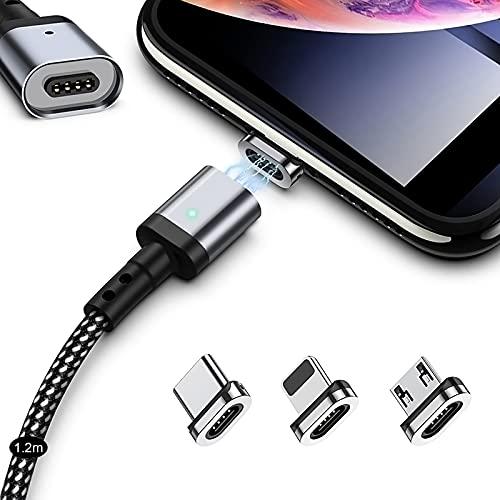 マグネット 充電ケーブル SUNTAIHO 3in1 miniUSBケーブル【1.2Mx1本セット】QC3.0急速充電とデータ伝送 磁石 磁気 防塵 着脱式 ライト マイクロUSB Type-C コネクタ タイプc Micro USB Cable LEDインジケーター付き - SYCX001 (1.2mケーブル&3個マグネット)