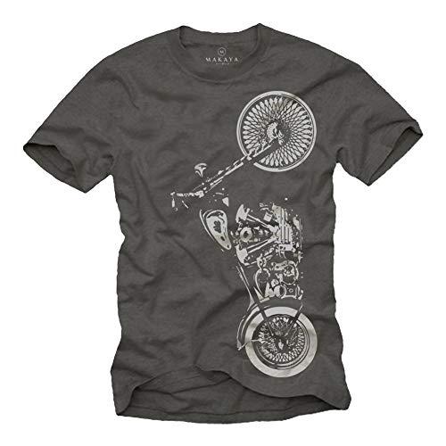 MAKAYA Ropa de Moto Hombre - Camiseta Gris S