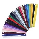 Pendasu - 120 cremalleras de nailon para coser en bobina, de nailon, cremalleras coloridas para ropa, costura, manualidades, manualidades, 24 colores (8 pulgadas)