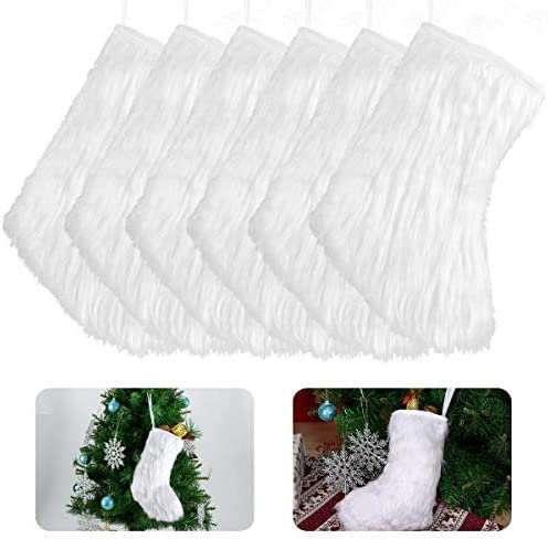 Cosweet 6 Pcs 9 1 inch White Christmas Stocking Hangings Snowy White Faux Fur Fireplace Christmas product image