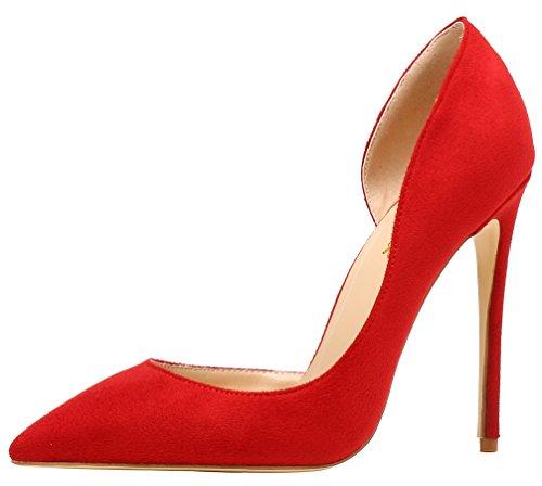 AOOAR Damen High Heels Mode Schuhe Rot Wildleder Kleid-Partei Pumps EU 45.5