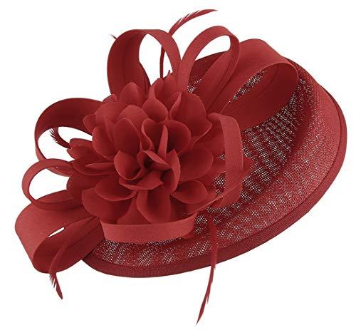 GEMVIE Vintage Fascinator Damen Hochzeit Kopfschmuck mit Federn Haarschmuck Braut 25 * 18 * 10cm Rot