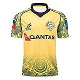 YAQA Maillot De Rugby pour Hommes, 17-18 Maillot De Rugby Commémoratif des Wallabies D'Australie, T-Shirt À Manches Courtes À Séchage Rapide, Polo De Sport Décontracté Yellow-S