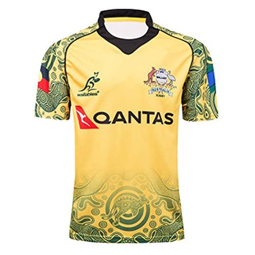 YAQA Camiseta De Rugby para Hombre, 17-18 Australia Wallabies Commemorative Rugby Jersey,Camiseta De Entrenamiento De Manga Corta De Secado Rápido Sport Casual Polo Top Yellow-L