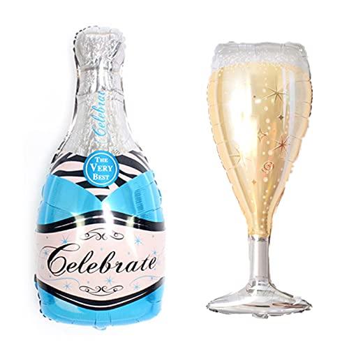 ballonfritz® Juego de globos, botella de champán y cristal, tamaño XXL, en color azul, como decoración de boda, bienvenida, regalo de fiesta o sorpresa de recepción de champán