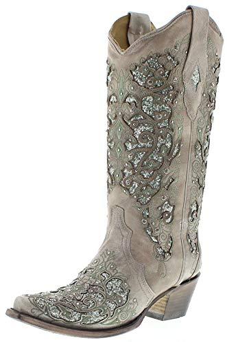Corral Boots Damen Cowboy Stiefel A3321 White Westernstiefel Festivalstiefel Lederstiefel Weiss 39.5 EU