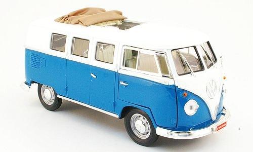 VW T1 Bus, blau/weiss, 1962, Modellauto, Fertigmodell, Yat Ming 1:18